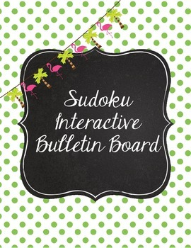 Flamingo Pink  and Polka Dot Interactive Sudoku Bulletin Board