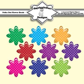Polka Dot Flower Puffy Style Clip Art