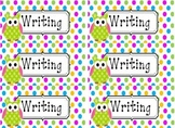 Polka Dot Fluency and Writing Folder Labels
