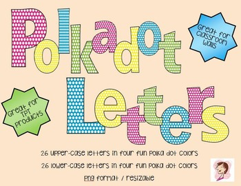 Polka Dot Font / Letters: Bright Colors