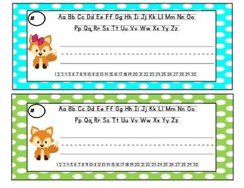 Fox Polka Dot Name Tags