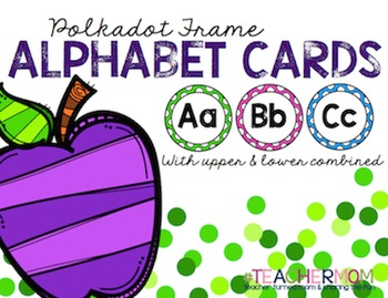 Polka Dot Frame Alphabet Cards _ Upper & Lower Combined {#