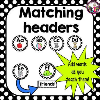 Polka Dot Framed Word Wall Words! Over 170 words!