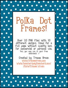 Polka Dot Frames Clip Art for Multi Purposes