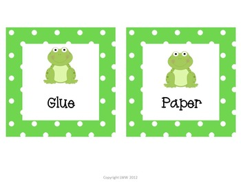 Polka Dot Frog Labels for Literacy Centers, Classroom and Books