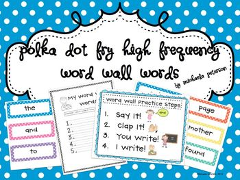 Editable-Polka Dot Fry High Frequency Word Wall Words and Practice {330 Words}