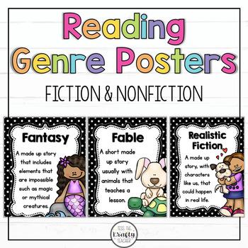 Reading Genre Posters, Fiction, Non-Fiction, Polka dot