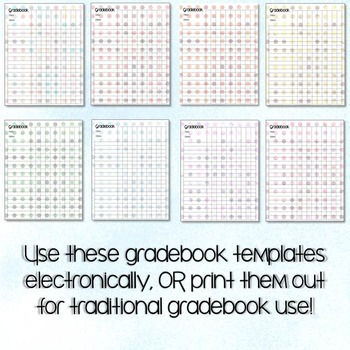 Polka Dot Gradebook Template with 8 Polka Bokeh Styles