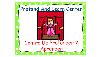 Polka Dot (Green) Bilingual Learning Centers Signs