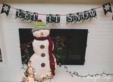 Snow Snowflake Winter Chalkboard printable classroom decor banner