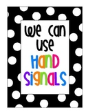 Polka Dot Hand Signal Posters for Classroom Management