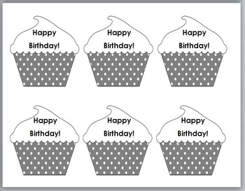 Polka Dot Classroom Decor -  Happy Birthday Cupcake Pencil Toppers / Badges