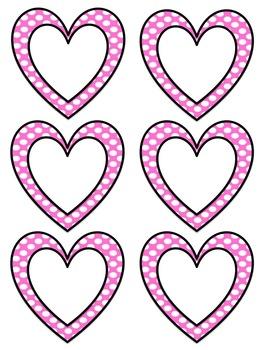 Polka Dot Heart Labels: Red, Orange, Yellow, Green, Blue, Purple, Pink, Black