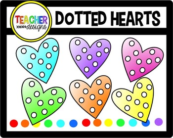 Polka-Dot Hearts Clip Art