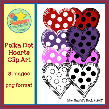 Polka Dot Hearts Clip Art