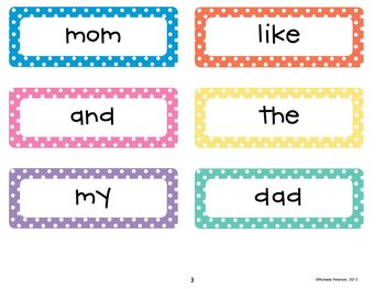 Polka Dot High Frequency Word Wall Words and Practice