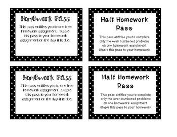 Polka Dot Homework Passes and 1/2 Homework Passes