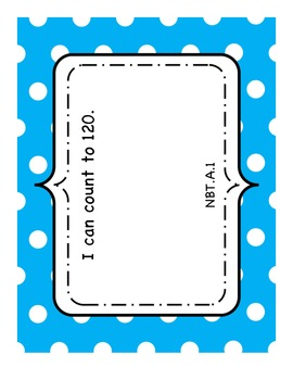 """Polka Dot """"I Can"""" Statements-First Grade Common Core Math Standards"""