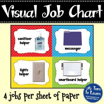 Polka Dot Job Chart with Pictures