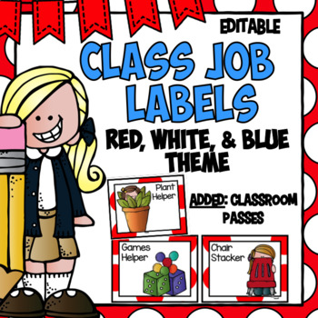 Class Jobs- Red and White Polka Dots ~ Editable