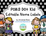 Polka Dot Kid Editable Name Labels {Freebie}