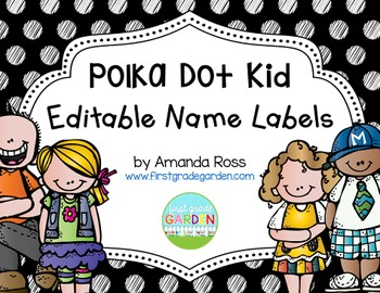 Polka Dot Kid Editable Name Labels {Freebie}