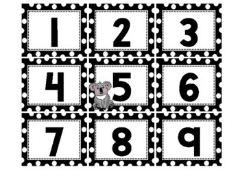 Polka Dot Koala Calendar Set (numbers, days, months, years)
