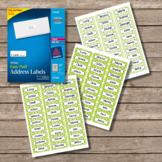 Polka Dot Labels -  30 Address Label Size (Avery 18160) Lime Green