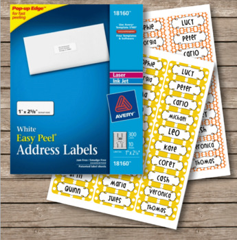 Polka Dot Labels -  30 Address Label Size (Avery 18160) Orange and Yellow