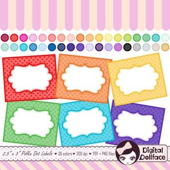 Polka Dot Labels / Frames Clip Art / Blank Labels by Digital Dollface