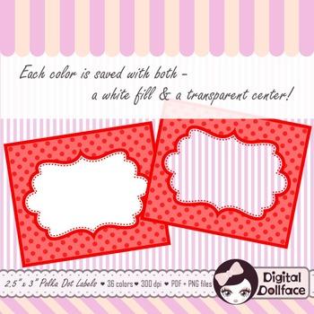 Polka Dot Labels / Frames Clip Art / Blank Labels