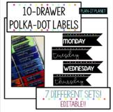 Polka-Dot Labels for 10-Drawer Organizer! EDITABLE!!