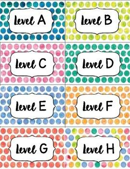 Polka Dot Leveled Library Cards