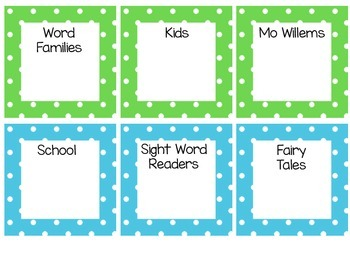 Polka Dot Library Labels