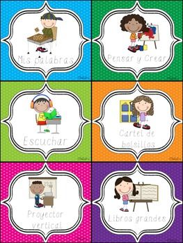 Polka Dot Literacy Station Labels (Spanish)