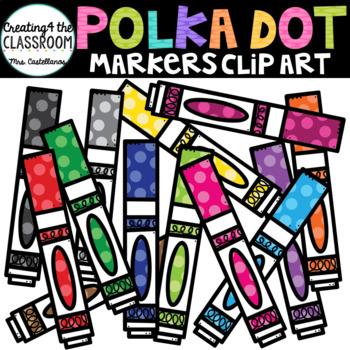 Polka Dot Markers {School Clip art}