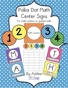 Polka Dot Math Center Signs