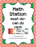 MATH STATIONS: Polka Dot Math Station Task Cards