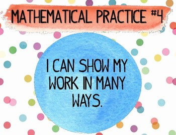 """Polka Dot Mathematical Practice Student """"I Can"""" statements"""