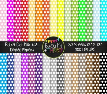 Polka Dot Mix BUNDLE Digital Papers {Commercial Use Digital Graphics}