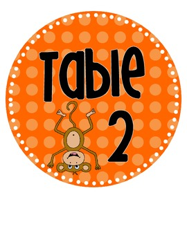 Polka Dot Monkey Theme Table Signs