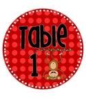 Polka Dot Monkey Theme Table Signs