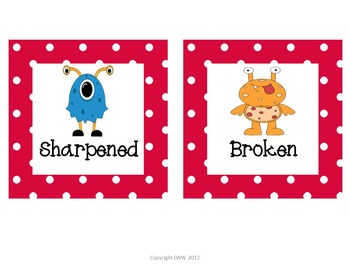 Polka Dot Monster Labels for Literacy Centers and Labels for the Room