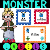 Polka Dot Monster Labels for Literacy Centers and Labels f
