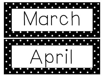 Polka Dot Month Signs
