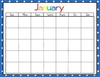 Polka Dot Monthly Calendars