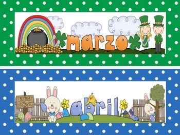 Polka Dot Monthly Headers {In Spanish}