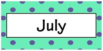 Polka Dot Months Calendar FREEBIE