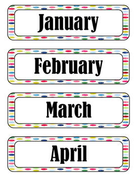 Polka Dot Months of the Year