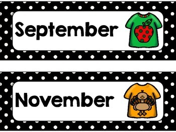 T Shirt, Polka Dot Months of the Year - 3 styles, Labels, Calendar
